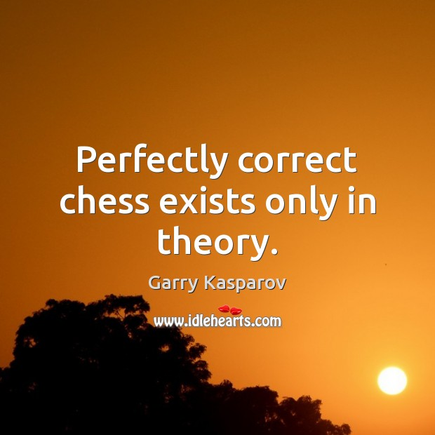 Perfectly correct chess exists only in theory. Garry Kasparov Picture Quote