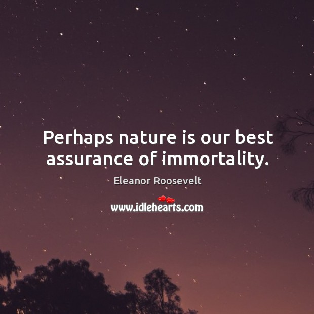 Perhaps nature is our best assurance of immortality. Image