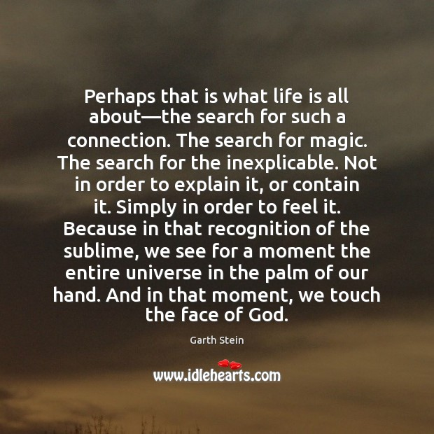 Perhaps that is what life is all about—the search for such Garth Stein Picture Quote