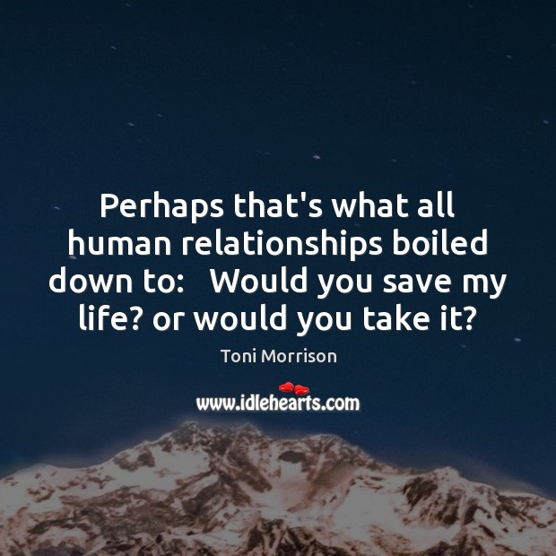 Perhaps that's what all human relationships boiled down to:   Would you save Toni Morrison Picture Quote