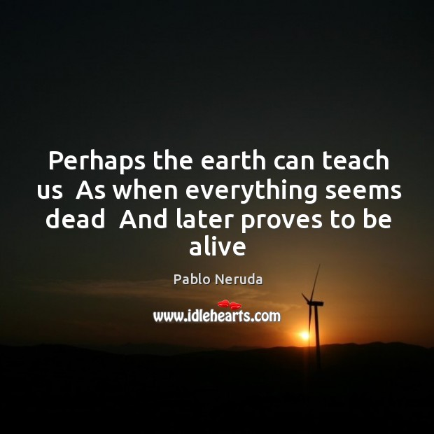 Perhaps the earth can teach us  As when everything seems dead  And Image