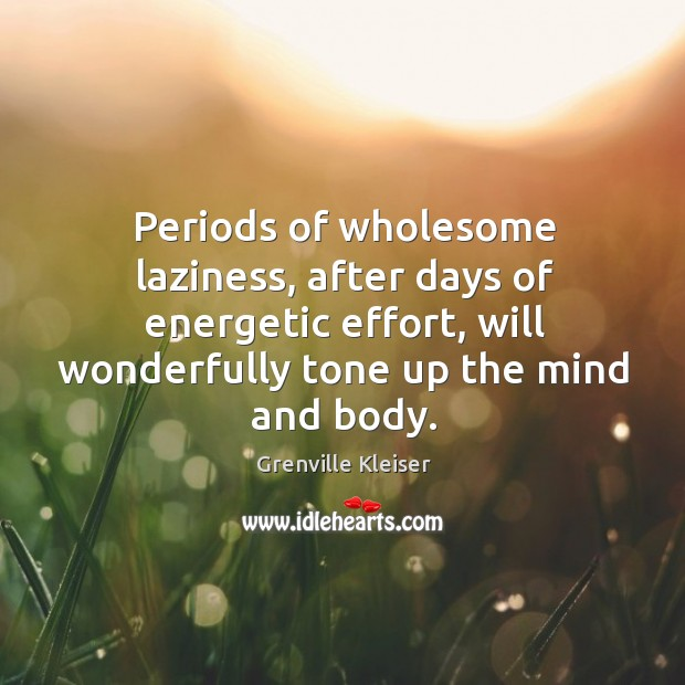 Periods of wholesome laziness, after days of energetic effort, will wonderfully tone up the mind and body. Grenville Kleiser Picture Quote