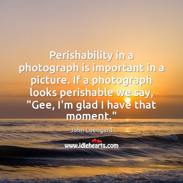 Image, Perishability in a photograph is important in a picture. If a photograph