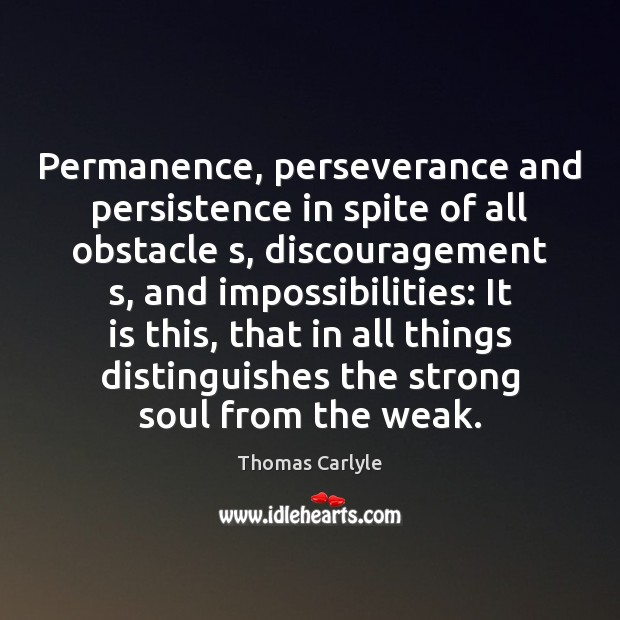 Image, Permanence, perseverance and persistence in spite of all obstacle s, discouragement s,