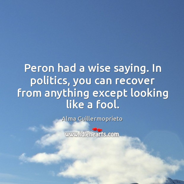 Image, Peron had a wise saying. In politics, you can recover from anything