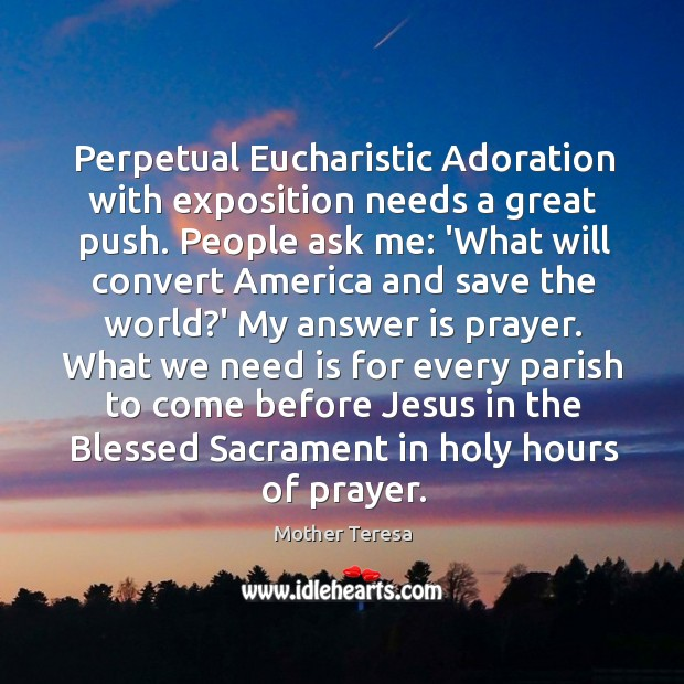 Image, Perpetual Eucharistic Adoration with exposition needs a great push. People ask me: