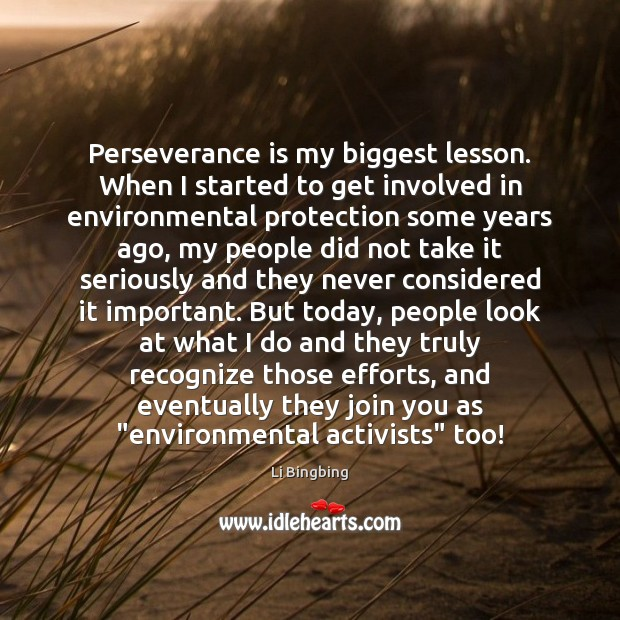 Perseverance is my biggest lesson. When I started to get involved in Perseverance Quotes Image