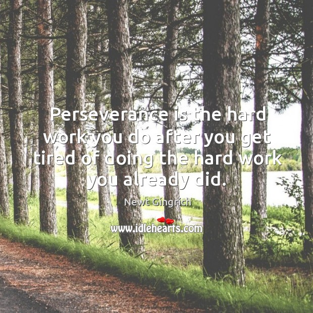 Perseverance is the hard work you do after you get tired of doing the hard work you already did. Perseverance Quotes Image