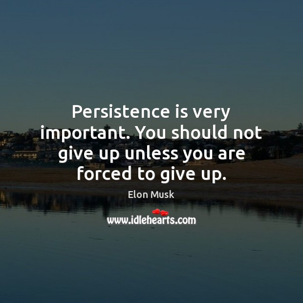 Persistence is very important. You should not give up unless you are forced to give up. Elon Musk Picture Quote