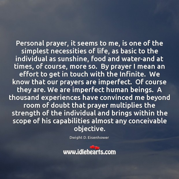 Personal prayer, it seems to me, is one of the simplest necessities Image