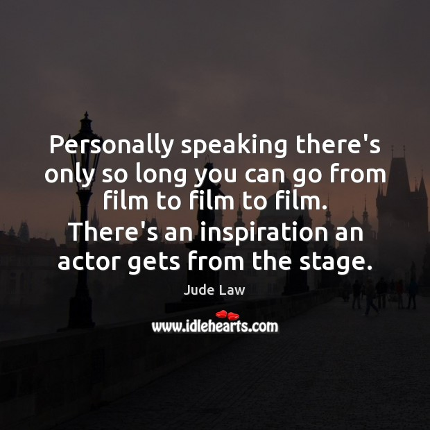 Image, Personally speaking there's only so long you can go from film to