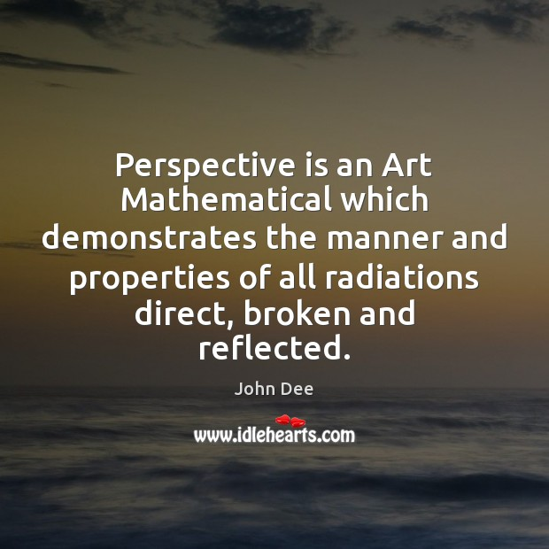 Perspective is an Art Mathematical which demonstrates the manner and properties of Image