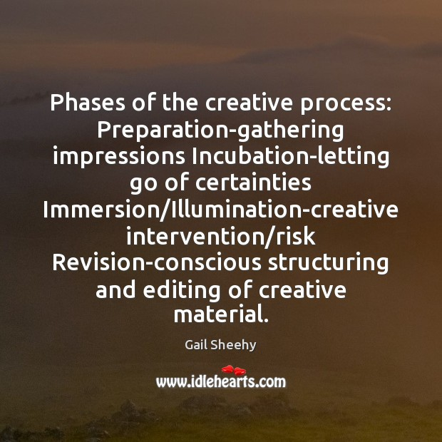Image, Phases of the creative process: Preparation-gathering impressions Incubation-letting go of certainties Immersion/