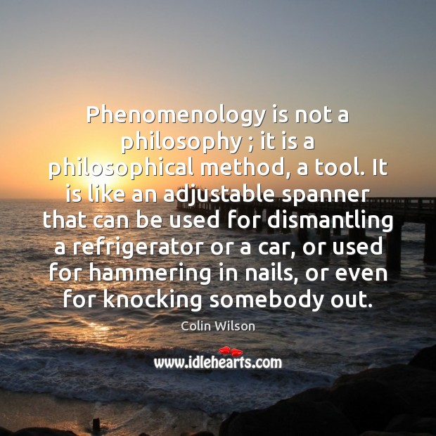 Phenomenology is not a philosophy ; it is a philosophical method, a tool. Colin Wilson Picture Quote