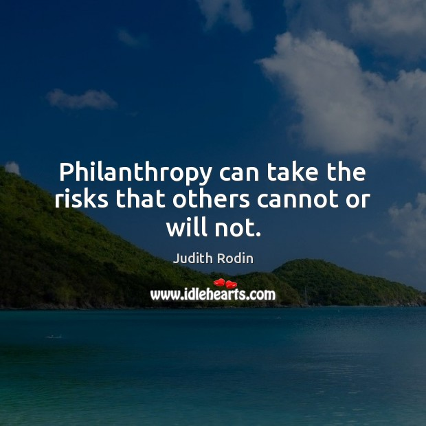Philanthropy can take the risks that others cannot or will not. Image