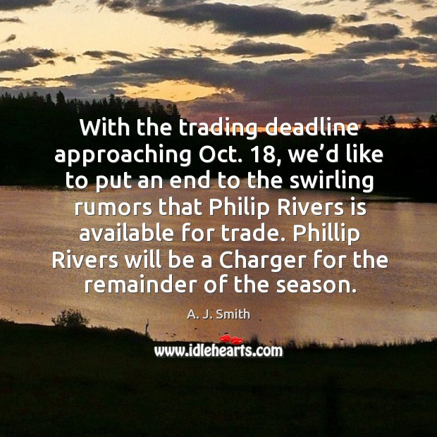 Phillip rivers will be a charger for the remainder of the season. Image