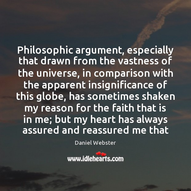 Philosophic argument, especially that drawn from the vastness of the universe, in Image