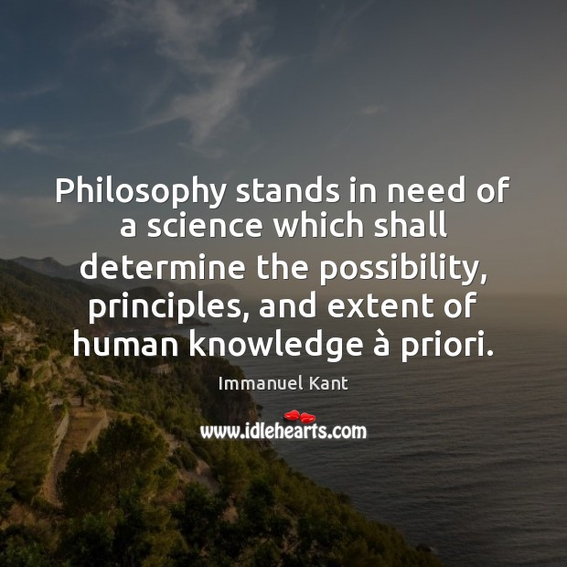 Image, Philosophy stands in need of a science which shall determine the possibility,