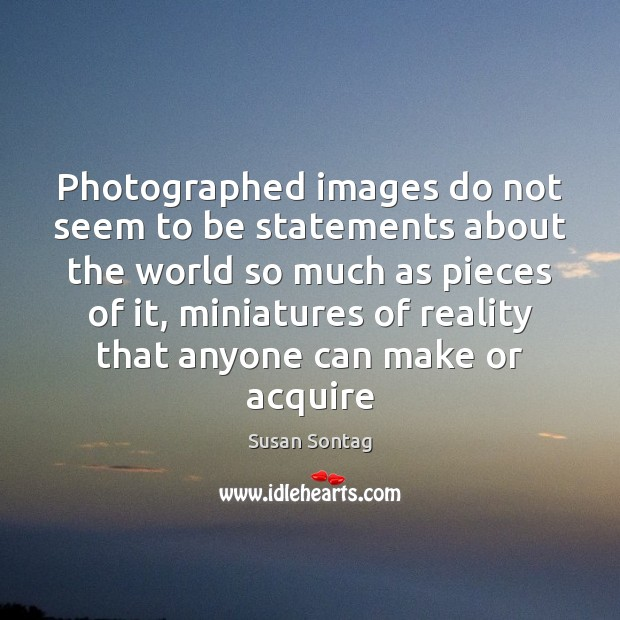 Photographed images do not seem to be statements about the world so Image