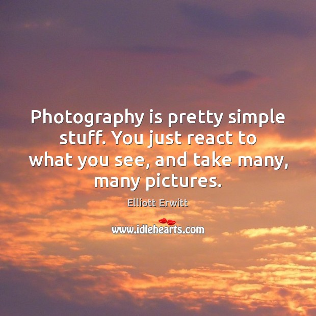Photography is pretty simple stuff. You just react to what you see, Image