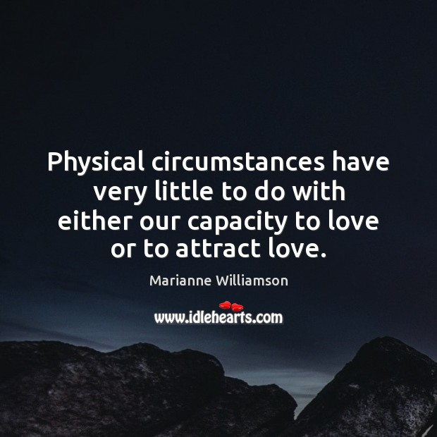 Image, Physical circumstances have very little to do with either our capacity to