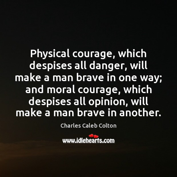 Physical courage, which despises all danger, will make a man brave in Image