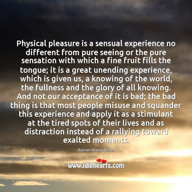 Physical pleasure is a sensual experience no different from pure seeing or Image