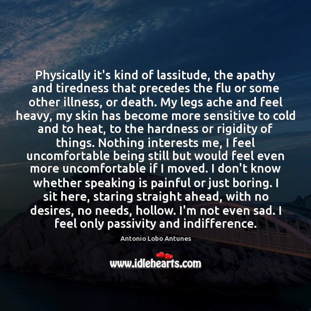 Physically it's kind of lassitude, the apathy and tiredness that precedes the Image