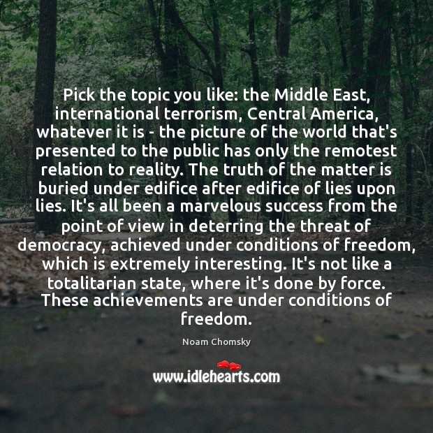 Pick the topic you like: the Middle East, international terrorism, Central America, Noam Chomsky Picture Quote