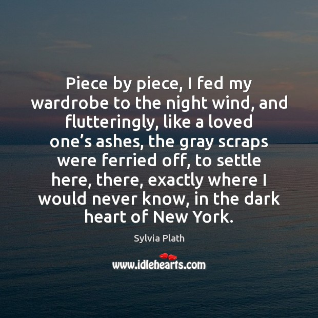 Piece by piece, I fed my wardrobe to the night wind, and Image