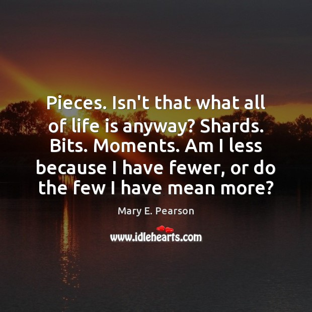 Pieces. Isn't that what all of life is anyway? Shards. Bits. Moments. Image