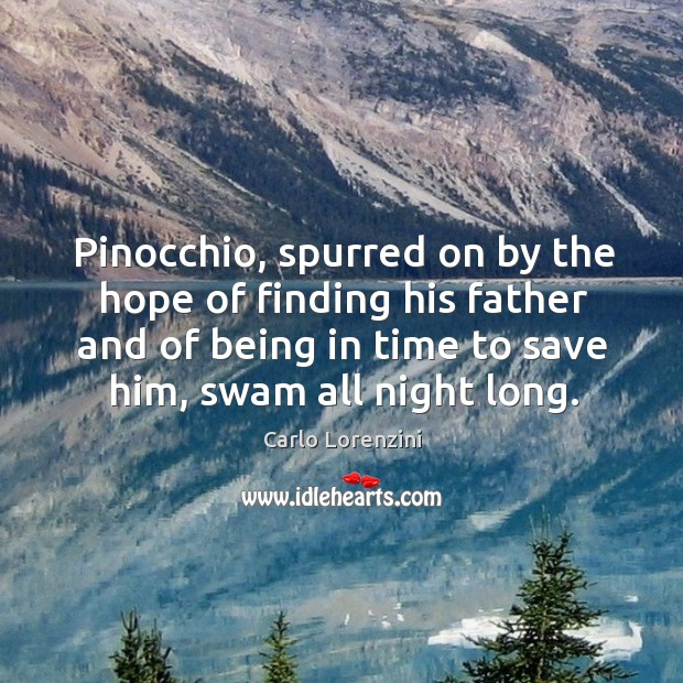 Image, Pinocchio, spurred on by the hope of finding his father and of being in time to save him, swam all night long.