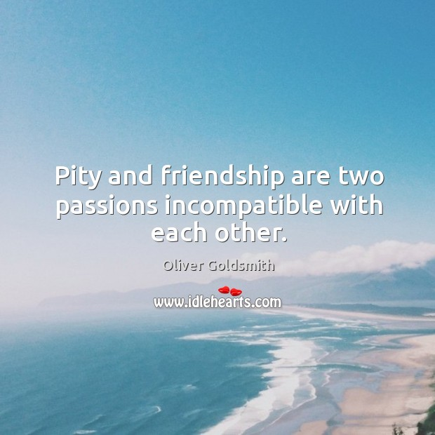 Pity and friendship are two passions incompatible with each other. Image