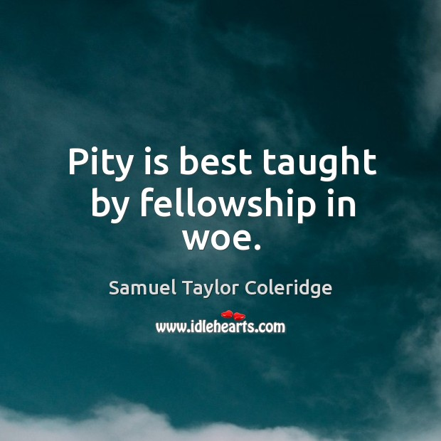 Pity is best taught by fellowship in woe. Image