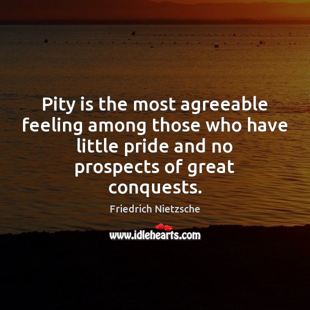 Image, Pity is the most agreeable feeling among those who have little pride