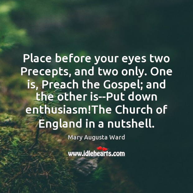 Place before your eyes two Precepts, and two only. One is, Preach Image