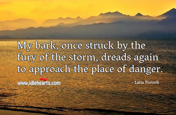 My bark, once struck by the fury of the storm, dreads again to approach the place of danger. Latin Proverbs Image