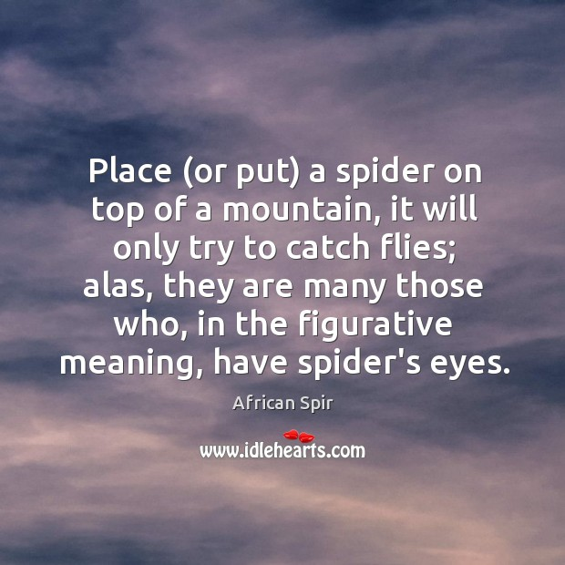 Place (or put) a spider on top of a mountain, it will African Spir Picture Quote