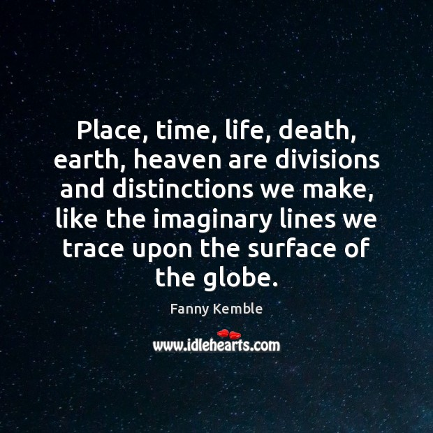 Image, Place, time, life, death, earth, heaven are divisions and distinctions we make,