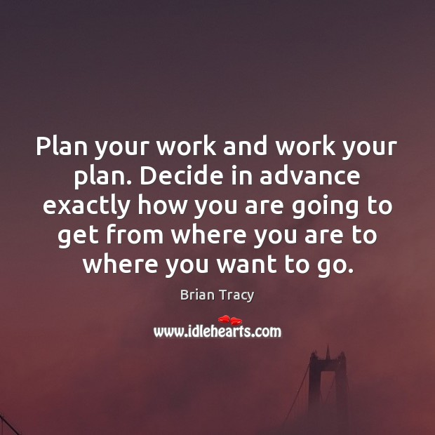 Image, Plan your work and work your plan. Decide in advance exactly how