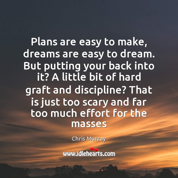 Plans are easy to make, dreams are easy to dream. But putting Chris Murray Picture Quote