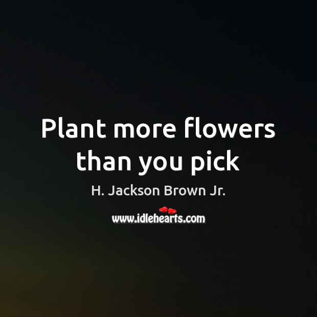 Plant more flowers than you pick H. Jackson Brown Jr. Picture Quote