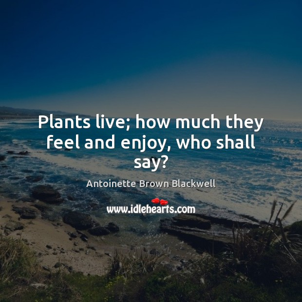 Plants live; how much they feel and enjoy, who shall say? Image