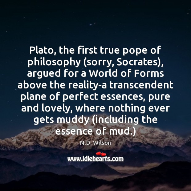 Image, Plato, the first true pope of philosophy (sorry, Socrates), argued for a