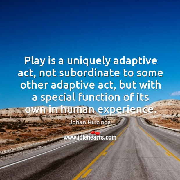 Play is a uniquely adaptive act, not subordinate to some other adaptive act Image