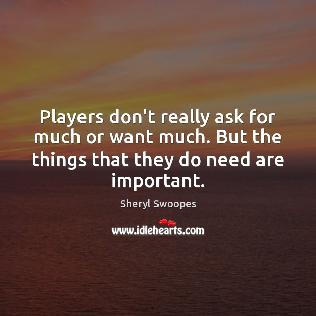 Players don't really ask for much or want much. But the things Image