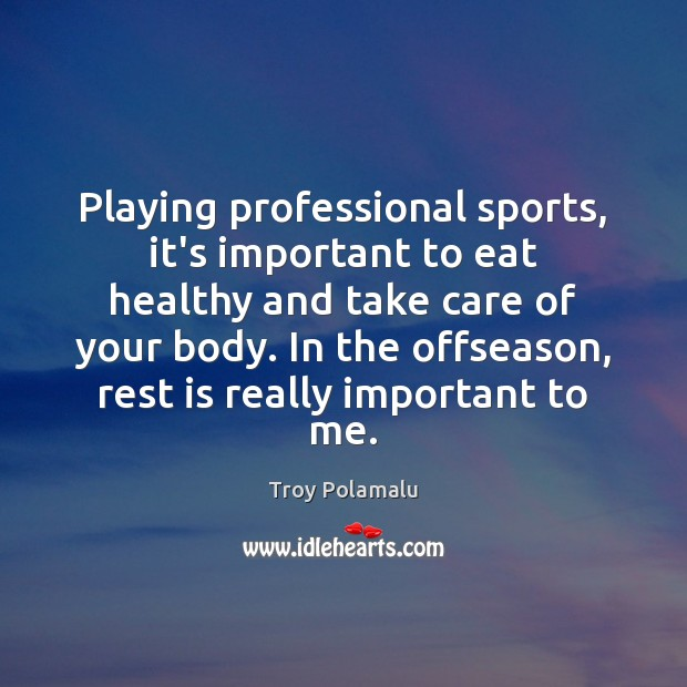 Playing professional sports, it's important to eat healthy and take care of Troy Polamalu Picture Quote