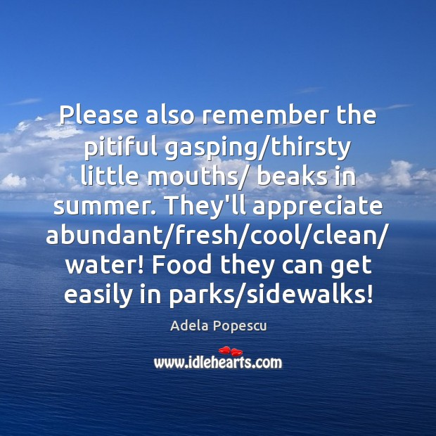Image, Please also remember the pitiful gasping/thirsty little mouths/ beaks in summer.