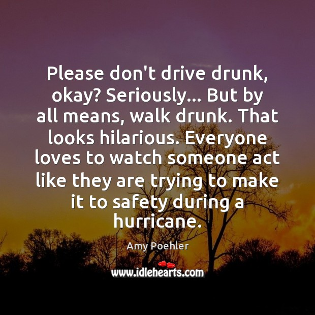 Please don't drive drunk, okay? Seriously… But by all means, walk drunk. Amy Poehler Picture Quote