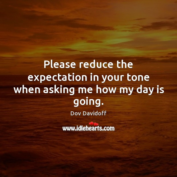 Please reduce the expectation in your tone when asking me how my day is going. Dov Davidoff Picture Quote